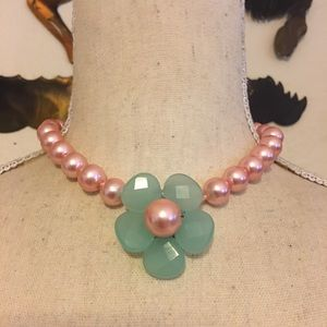 Vintage pink pearl blue faceted flower jewelry set